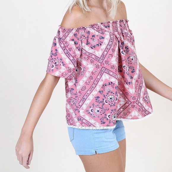 Altar'd State Tops - Altar'd State Bandana Rama off the shoulder top